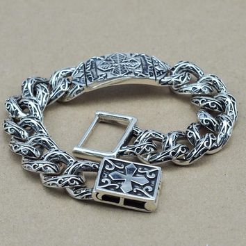 S925 Thai silver cross link bracelets for cool Men jewelry fine vintage style about 21.5cm