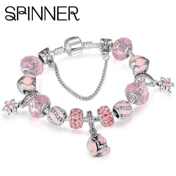 SPINNER Mermaid Charm Bracelets Women With Glass Beads fit Snake Chain Brand Bracelet diy Femme Jewelry