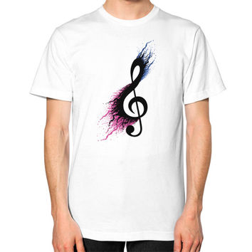 Music sign spill Unisex T-Shirt (on man)