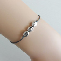 Letter Initials With Heart Bracelet, Silver Pewter, Personalized, Customized, Two Initials and Heart, Anklet, BFF, Friend,