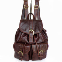 Women's Backpack the first layer of leather  backpack women casual street sweet gentlewomen small bags school bag