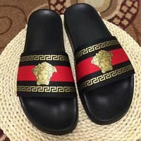 Versace New fashion women and men stripe slippers shoe Black