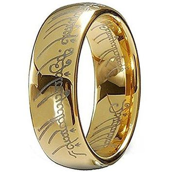 7mm Gold Plated Elvish Script Tungsten Carbide Unisex Laser-etched Wedding Ring Band