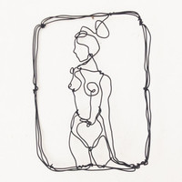 Wire wall art - girl at the window -  dancer on pause - wall sculpture