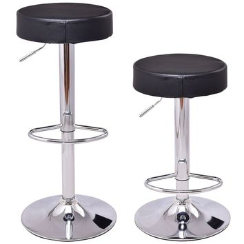 Costway Set of 2 Adjustable Round Leather Seat Hydraulic Swivel Bar Stool Black