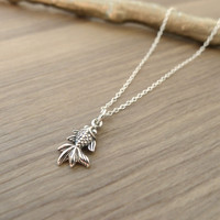 Free Shipping - Sterling Silver Gold Fish Necklace Koi