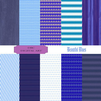 Digital Paper, Scrapbooking, Beautiful Blue Collection Invitation, Background, Stickers In Wood, Polka Dot, Beach, Chevron, Stripes