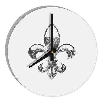 "Distressed Fleur de Lis 8"" Round Wall Clock"