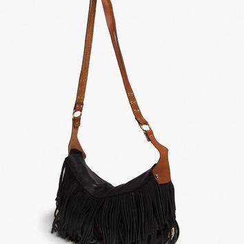 Black Leather Fringe Frances Bag | V i X Paula Hermanny