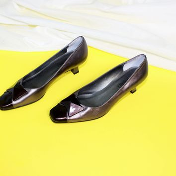 Chunky Jewel Cap Toe Kitten Heels / Size 8 and a Half