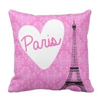 Pink Damask Paris Eiffel Tower Pillow