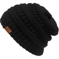 Chunky Knit Slouchy Beanie Oversize Thick Cap Hat Unisex Womens - Walmart.com