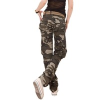 Casual Women Camouflage Pants Tactical Camo Cargo Pants Women Military Fashion Loose Baggy Pants Multi-Pocket Long Trousers