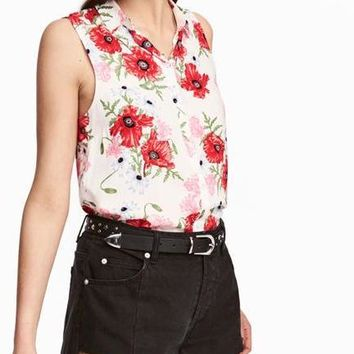 Fashion Women Blouses Floral Print Sleeveless Button Down Shirt Casual Summer Tops Ladies Shirts Elegant