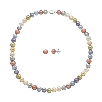 Freshwater by Honora Dyed Freshwater Cultured Pearl Sterling Silver Necklace & Stud Earring Set (Pearl/Raspberry/Silver)