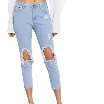 SheIn Summer Trousers For Women Casual Mid Waist Button Fly Pants Blue Knee Ripped Skinny Denim Ankle Length Jeans