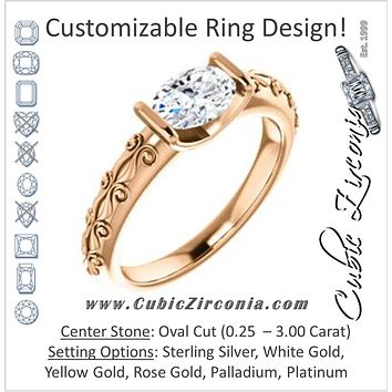 Cubic Zirconia Engagement Ring- The Cora (Customizable Bar-set Oval Cut featuring Organic Carved Band)