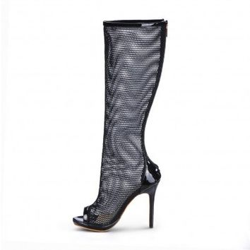 POSH GIRL Black Mesh Open Toe High Boots
