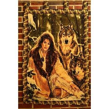 Tache 28 x 47 Inches Runs With Wolves American Indian Tapestry Wall Hanging With Hanging Loops (WH-DA12082)