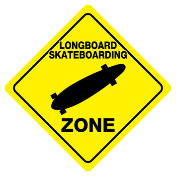 "LONGBOARD SKATBOARDING ZONE Funny Novelty Crossing Sign 12""x12"""