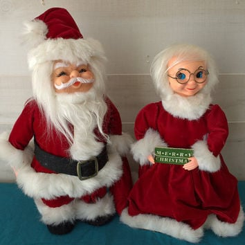 Vintage Santa and Mrs Santa Doll Christmas Decorations