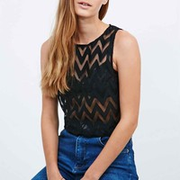 Staring at Stars Cropped Zig-Zag Tank in Black - Urban Outfitters