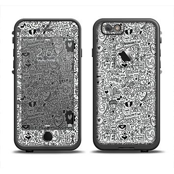 The Black and White Valentine Sketch Pattern Skin Set for the Apple iPhone 6 LifeProof Fre Case