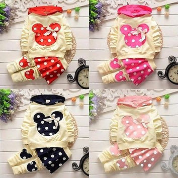 baby girls  kids clothing sets cartoon winter spring cotton casual tracksuits kids clothes sports suit hot