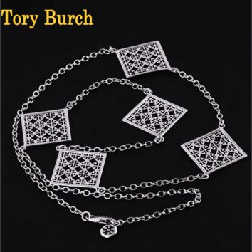 Tory Burch Fashion New Hollow Alloy Sweater Chain High Quality Personality Long Necklace Silver