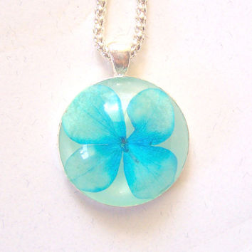 Hydrangea Real Pressed Flower Pendant Necklace (N2)