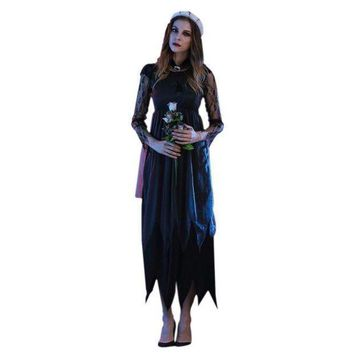 2017 Halloween Costumes For Women Long Maxi  Lace Party Dress Beach Dressesvestido De Festa Cosplay Vampire Witches Hot Sale W1
