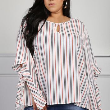Plus Size Striped Vented Sleeve Blouse Tops+ GS-LOVE