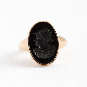 Onyx Warrior Ring - 10k Rosy Yellow Gold Onyx Intaglio Cameo Ring - Size 8 Vintage Victorian Late 1800s Unique Rare Fine Black Gem Jewelry