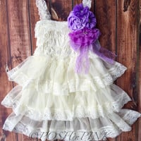 Rustic girl dress, pin, ivory, country, purple, cream lace chiffon dress, flower girl, bridal wedding, shabby chic, vintage, ruffle, child