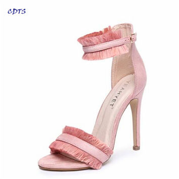 Crossdresser Stiletto Summer 11cm ultra high thin heels Ankle-strap shoes all-match sandals female wedding pumps Plus:35-41