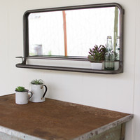 "Metal Frame Pharmacy Mirror- 36"" x 18""T"