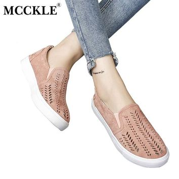 MCCKLE 2017 Women's Vulcanize Cut-outs Flat Brand Slip-on Platform Elastic Band Ladies Style Loafers Flock Woman Female Shoes