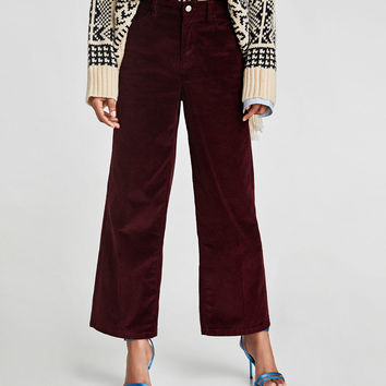 HIGH WAIST CORDUROY TROUSERS