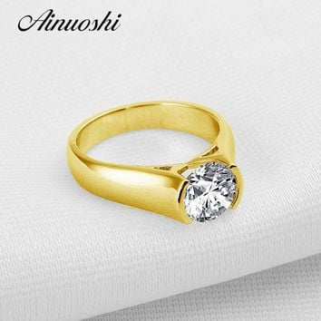 AINUOSHI 10k Solid Yellow Gold Wedding Ring 2 ct Solitaire Round Cut Simulated Diamond Jewelry Vintage Luxury Women Wedding Ring
