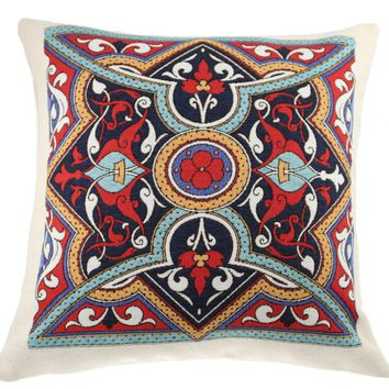 Poppy Mandala Decorative Pillow Cushion Cover