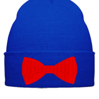BOW TIE EMBROIDERY hat - Beanie Cuffed Knit Cap