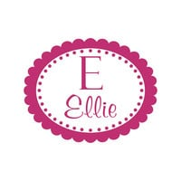 Personalized Oval scallop Name with Initial Monogram Wall Decal Girls Room Decor