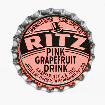Pink Grapefruit Bottle Cap Print