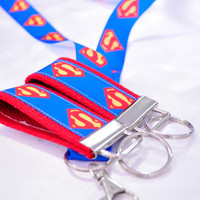 Superman ribbon key fob keychain and lanyard set