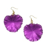 Violet Anodized Lily Pad Aluminum Earrings by John S Brana Handmade Jewelry - High-Quality Durable Anodized Aluminum - Super Lightweight Earrings - Hypoallergenic - Lifetime Guarantee