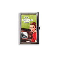 Business Card Case Sorry I don't Care Sassy Woman Metal Case Fits Business Credit Debit and Gift Cards