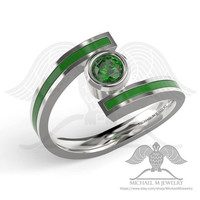 Green lantern with green stone and enamel ring band - custommade handmade ***Made to Order