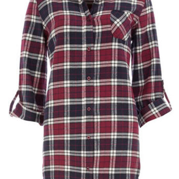 Navy check boyfriend shirt - Lingerie & Sleepwear  - Clothing