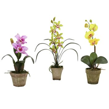 Artificial Flowers -Potted Orchid Mix -Set Of 3 Arrangement No2 Silk Plant