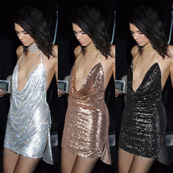 Summer Fashion Sexy Female Solid Color Sequin Deep V Backless Halter Metal Chain Mini Dress